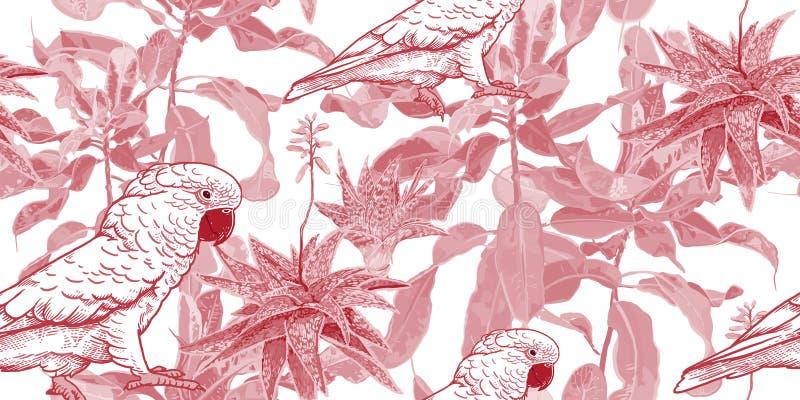 R?d och vit s?ml?s modell Kaktus, fikus och kakadua royaltyfri illustrationer
