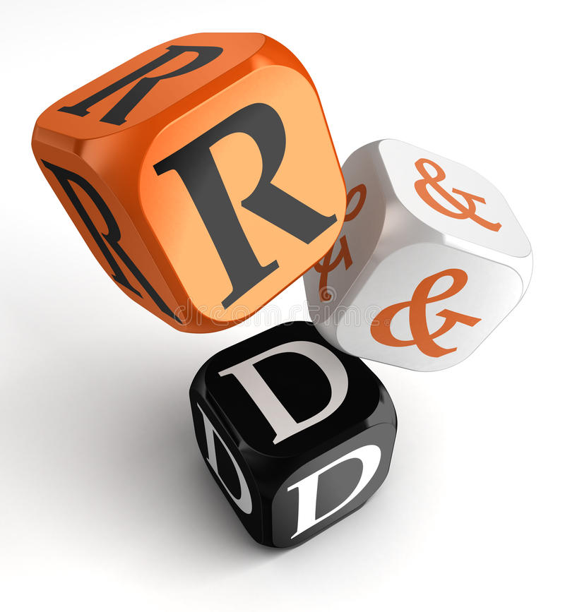 R&d orange black dice blocks. Research and development orange black dice blocks on white background. clipping path included royalty free illustration
