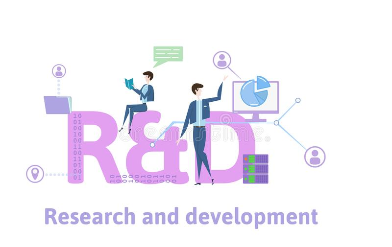 R and D, Research and Development. Concept table with people, letters and icons. Colored flat vector illustration on stock illustration