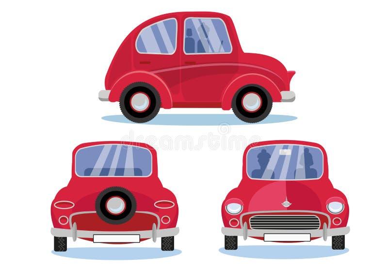 R?d retro bil Tecknad filmbiluppsättning i tre olika sikter: Sida - framdel - baksidasikt Gulligt medel med runda billyktor med stock illustrationer