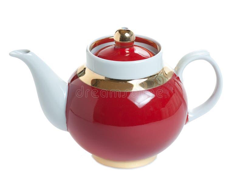 r?d teapot royaltyfri fotografi