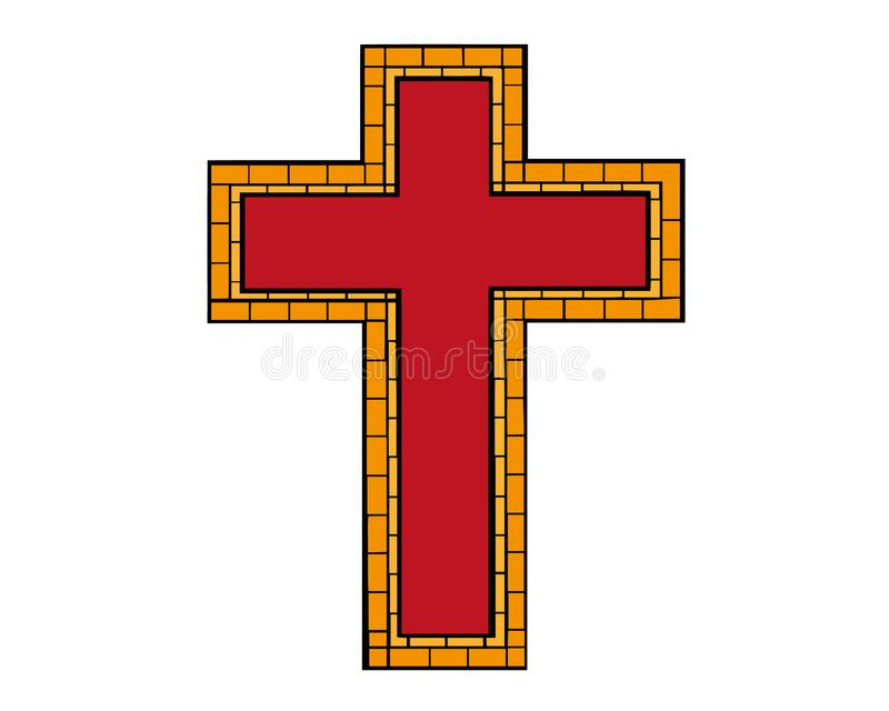 R?d teckning av kristenkorset i klottertecknad filmstil ocks? vektor f?r coreldrawillustration Hand dragit kristenkors som isoler stock illustrationer