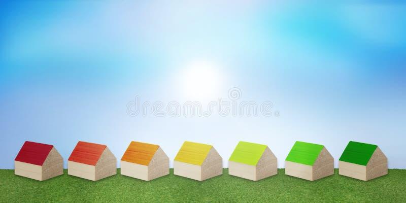 R?ddningelektricitet och gas Begreppshusuppv?rmning ekologiskt hus Effektiv och ekonomisk v?rme Konstruktion med f?rnybar en stock illustrationer