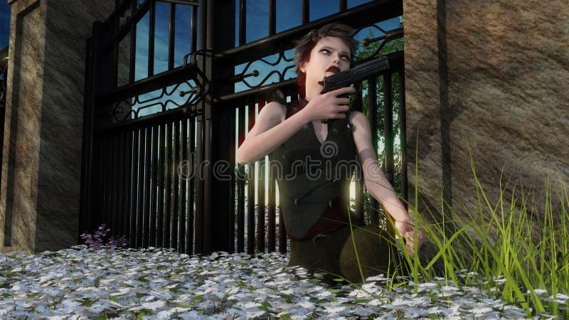 rôdeur de femme près à la porte se reposant avec une arme à feu illustration stock
