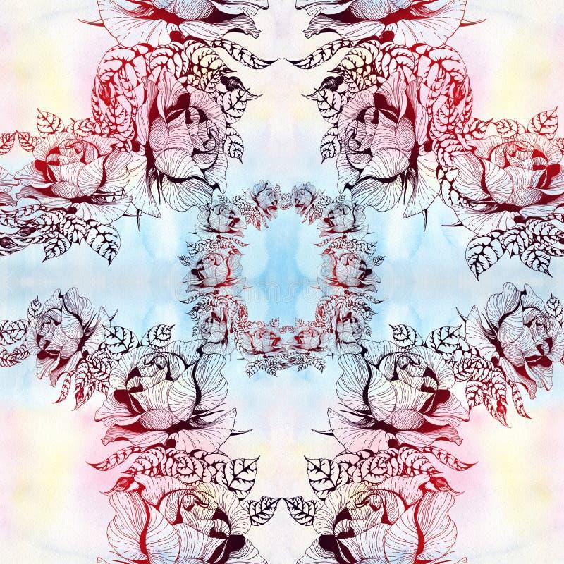 r??e Gałąź róże z liśćmi, kwiatami i pączkami, akwarela Bezszwowy t?o Kola? kwiaty i li?cie na waterc royalty ilustracja