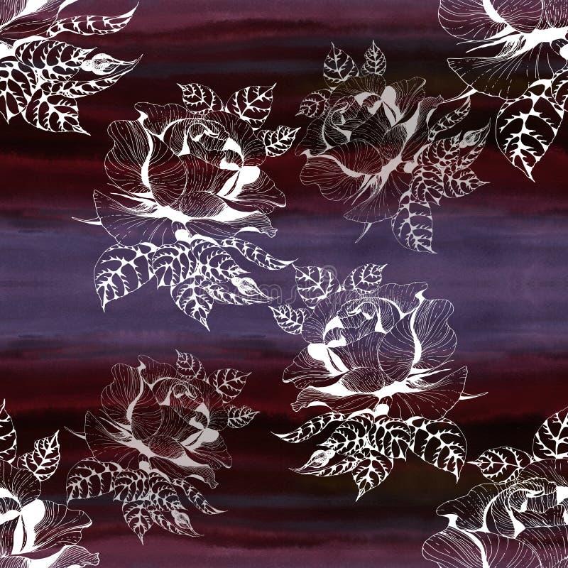 r??e Gałąź róże z liśćmi, kwiatami i pączkami, akwarela Bezszwowy t?o Kola? kwiaty i li?cie na waterc ilustracja wektor