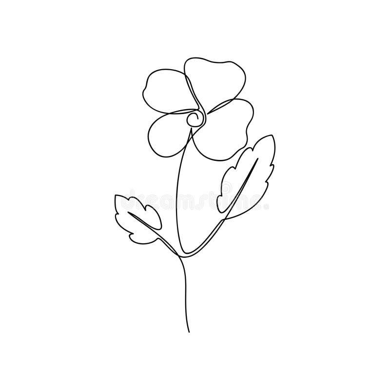 r En linje teckning av altfiolblomma Hand-dragen minimalist illustration stock illustrationer