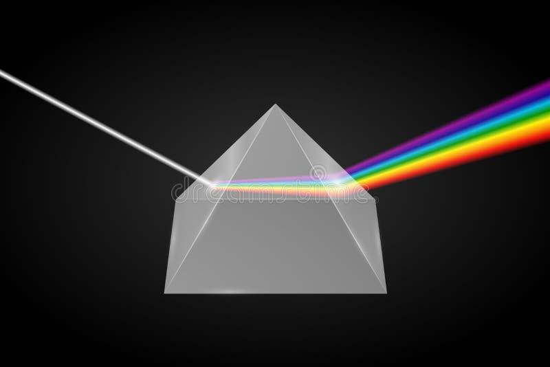 R?fraction en verre de pyramide de lumi?re illustration libre de droits