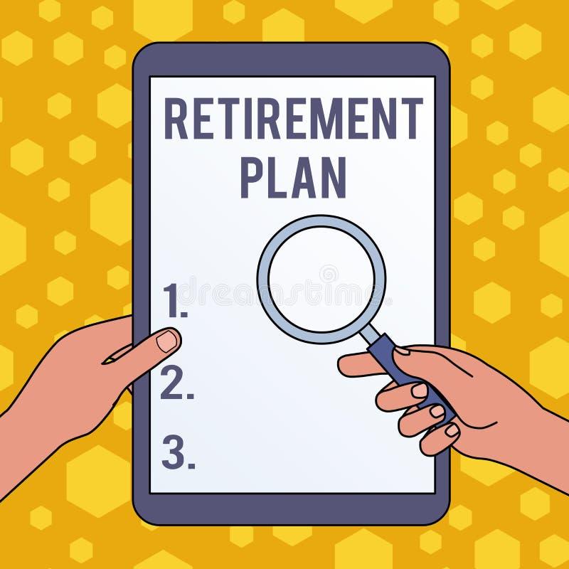R?gime de retraite d'?criture des textes d'?criture Concept signifiant l'argent économisant afin de l'employer quand vous avez st illustration stock
