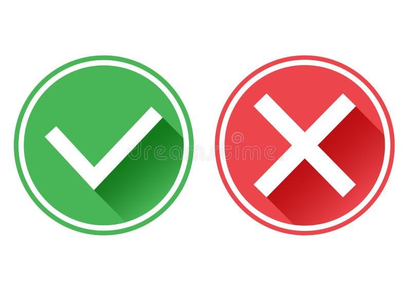 R?gl? boutons rouges et verts d'ic?nes Confirmation et rejet Oui et num?ro Vecteur illustration stock