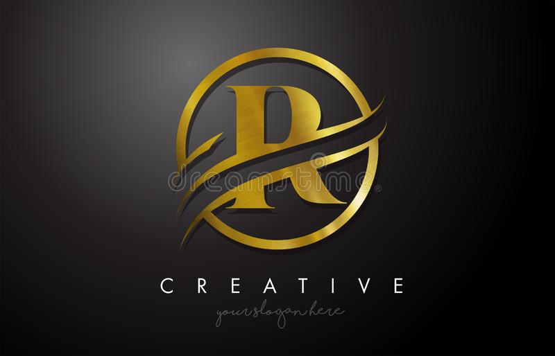 R Golden Letter Logo Design with Circle Swoosh and Gold Metal Texture. Creative Metal Gold R Letter Design Vector Illustration vector illustration