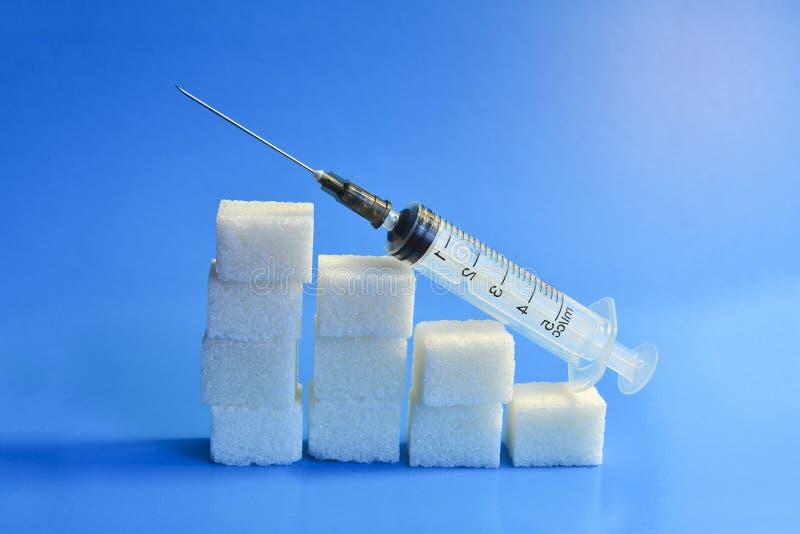 r Het concept van de diabetes Het concept mogelijk kwaad van suiker Verhoging van de niveaus van de bloedsuiker, de grafiek van stock afbeelding