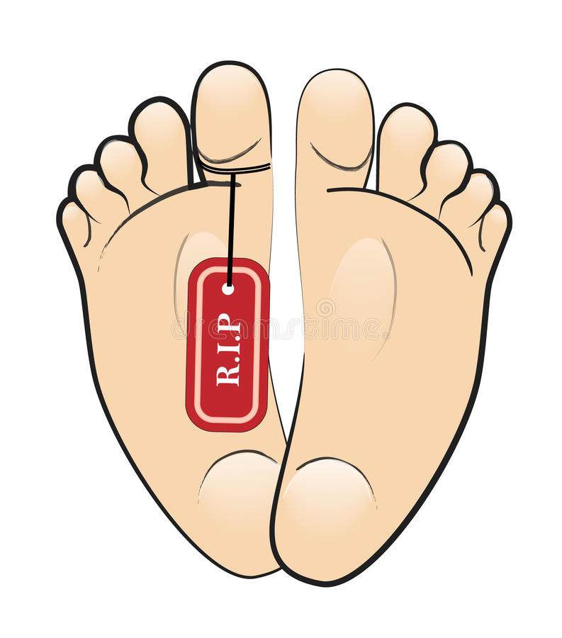 R.i.p foot. Foot of a deceased person with a rip label stock illustration