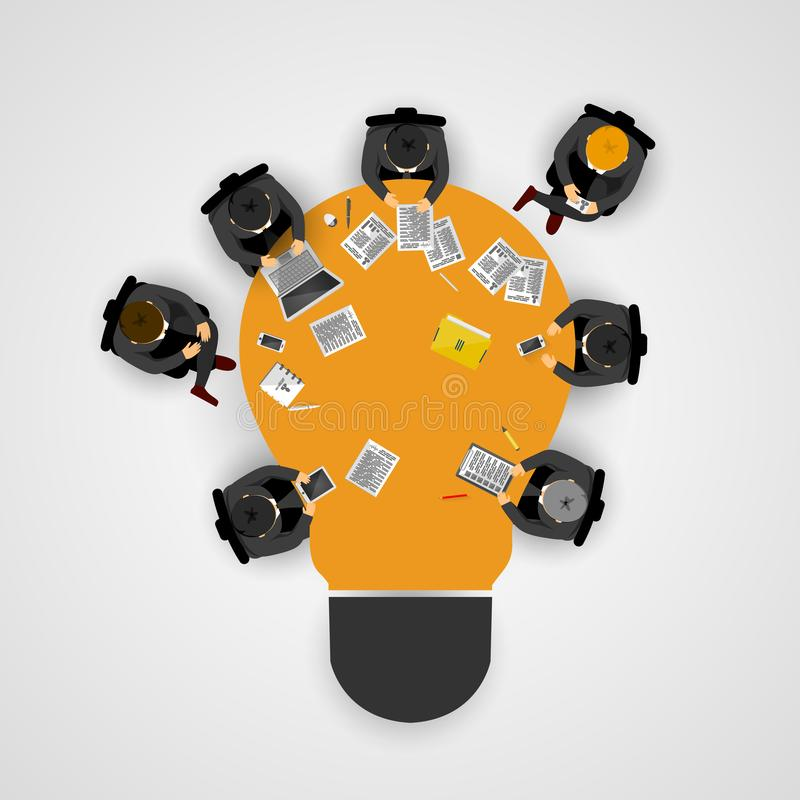 r Idé och affärsidé för teamwork Infographic mall med folk, laget och den ljusa kulan royaltyfri illustrationer