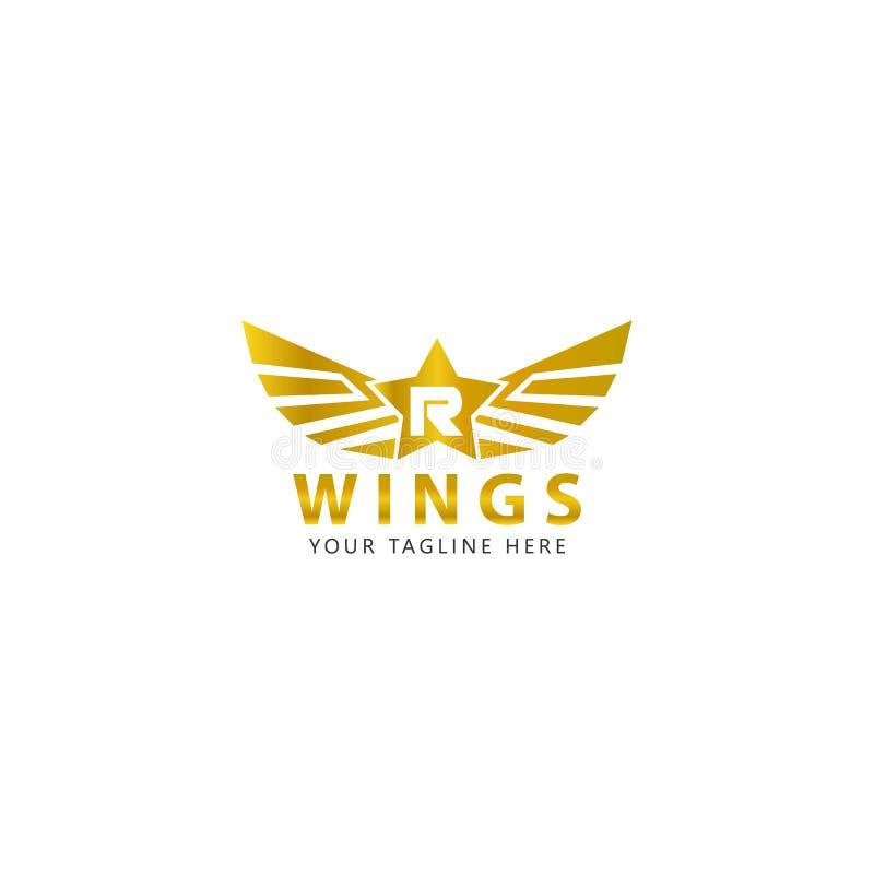 R inicial com o logotipo das asas do ouro é um projeto moderno ilustração royalty free