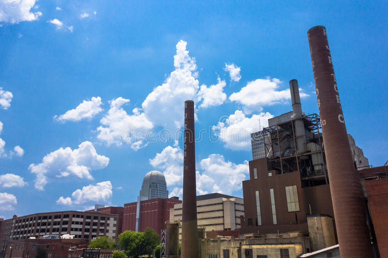 R. J. Reynolds Factory. R. J. Reynolds Tobacco smoke stacks and factory at The Bailey Power Factory in downtown Winston-Salem NC. Part of the Wake Forest royalty free stock images