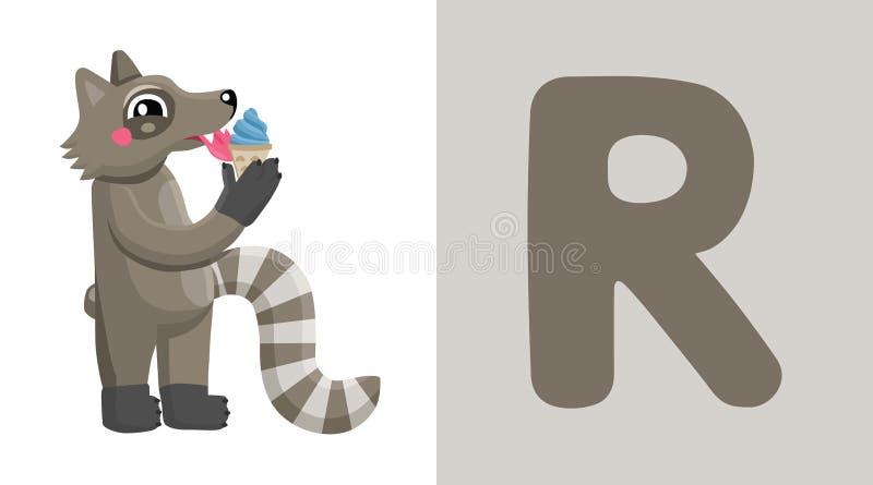 R jest dla szop pracz literę r raccoon , śliczna ilustracja abecadła zwierzęcy tła wizerunków wektoru biel ilustracja wektor