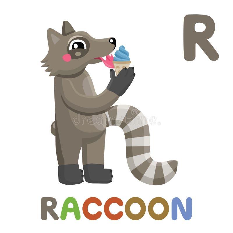 R jest dla szop pracz literę r raccoon , śliczna ilustracja abecadła zwierzęcy tła wizerunków wektoru biel royalty ilustracja