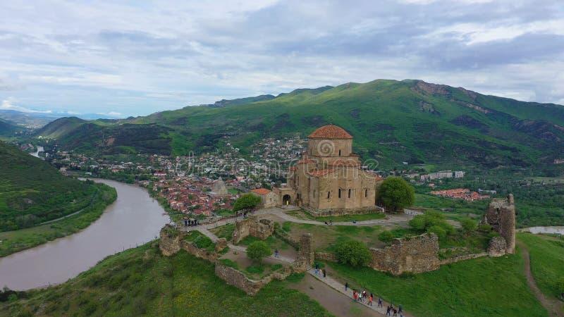 r Jvari或Jvari修道院是一个格鲁吉亚正统修道院 免版税库存图片