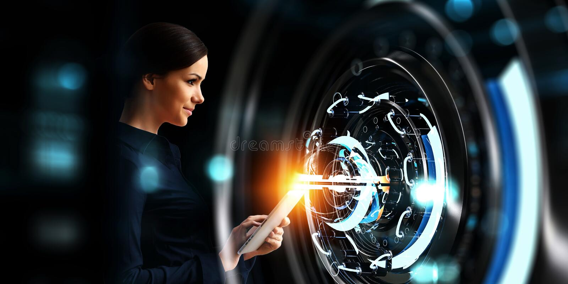 R?ka i technologii dyrekcyjny poj?cie Mieszani ?rodki obraz royalty free