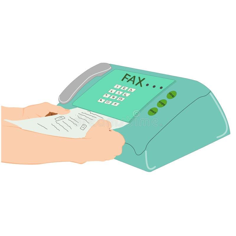 R?ka m??czyzna u?ywa faks maszyn? royalty ilustracja