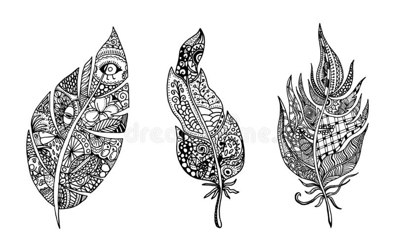 R?ka rysuj?ca stylizuj?ca pi?rko wektoru kolekcja Set doodle plemienni pi?rka ?liczny zentangle pi?rko dla tw?j projekta elementy royalty ilustracja