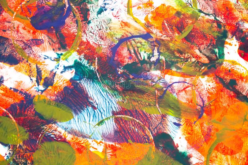 R?ka rysuj?cy akwarela obraz sztuki abstrakcjonistycznej t?o Kolor tekstura E Punkt farba Mu?ni?cie farba sztuka royalty ilustracja