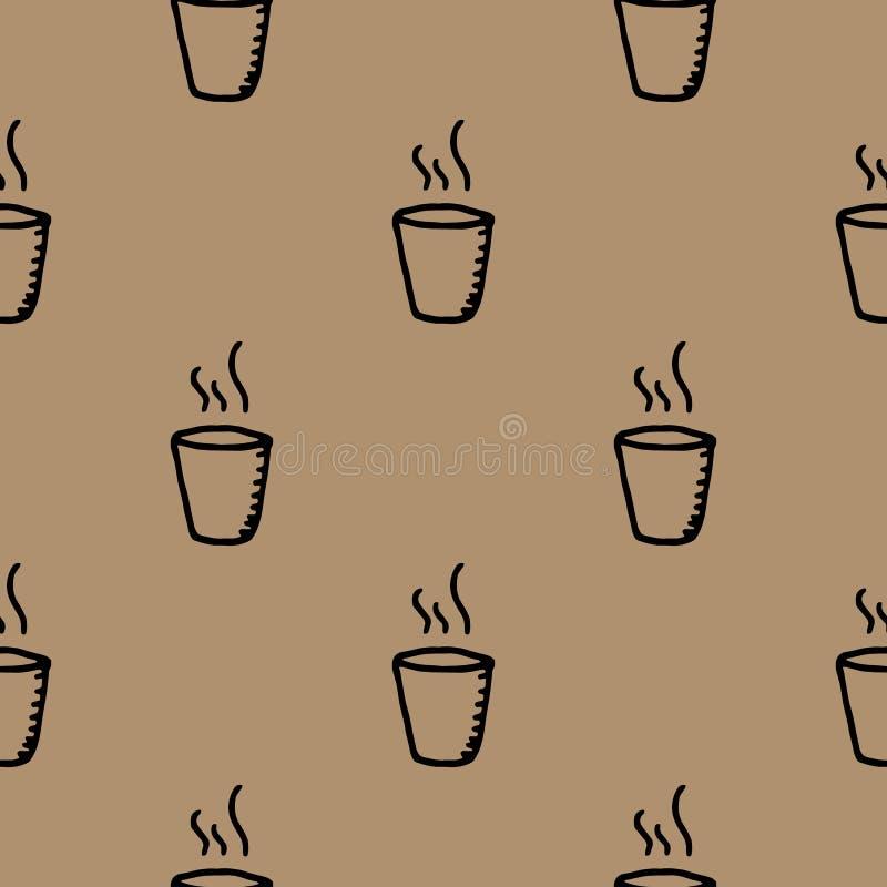 R?ka Rysuj?cy bezszwowy deseniowy fili?anki doodle Nakre?lenie stylowa ikona Dekoracja element pojedynczy bia?e t?o P?aski projek ilustracja wektor