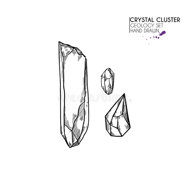 R?ka rysuj?cy krystaliczny grono Wektorowa kopalna ilustracja Ametysta lub kwarc kamie? Odosobniony naturalny klejnot Geologia se ilustracji