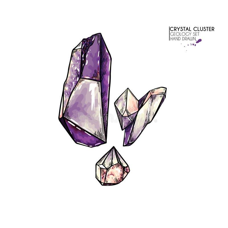 R?ka rysuj?cy krystaliczny grono Wektorowa kopalna ilustracja Ametysta lub kwarc kamie? Odosobniony naturalny klejnot Geologia se ilustracja wektor