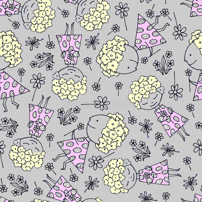 R?ka rysuj?cy ?liczny kresk?wki dziewczyny mienia wiosny kwiat ilustracji