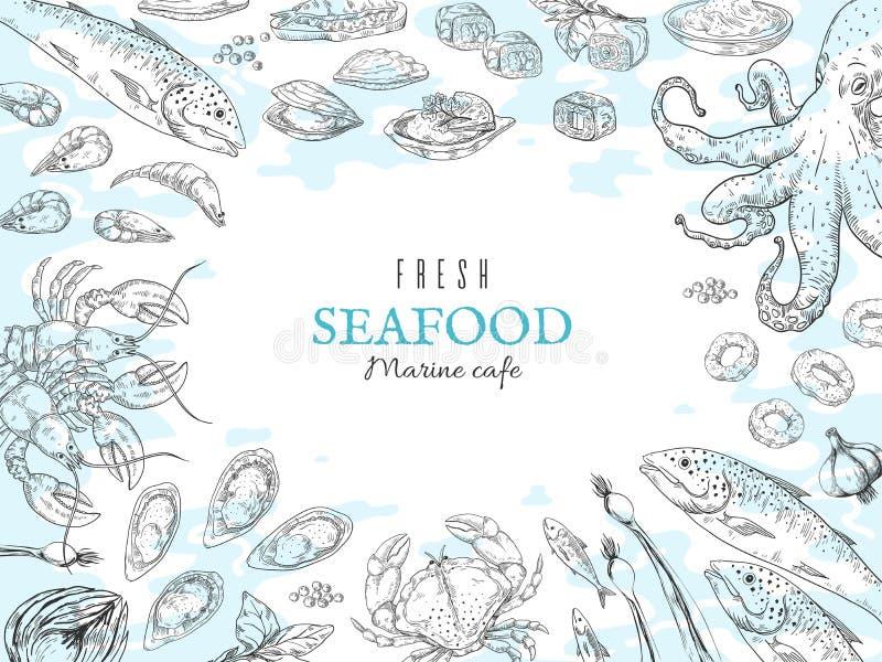 R?ka rysuj?cy owoce morza t?o Rybi restauracyjny plakat, wyśmienity obiadowy stół, morski nieociosany plakat Wektorowy oceanu jed royalty ilustracja