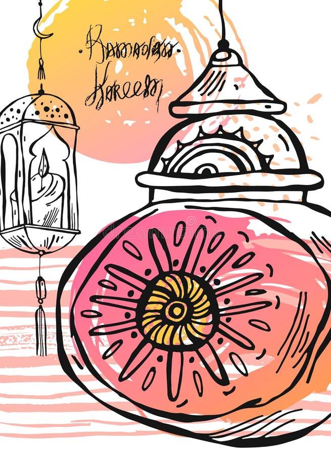 R?ka rysuj?cy Ramadan Kareem i meczetowa kartka z pozdrowieniami ilustracji