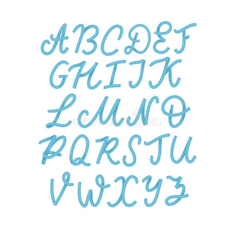 R?ka rysuj?cy typeface ustawiaj?cy odizolowywaj?cym na bielu Mu?ni?cie maluj?cy charaktery: lowercase i uppercase logo chrzcielni ilustracja wektor