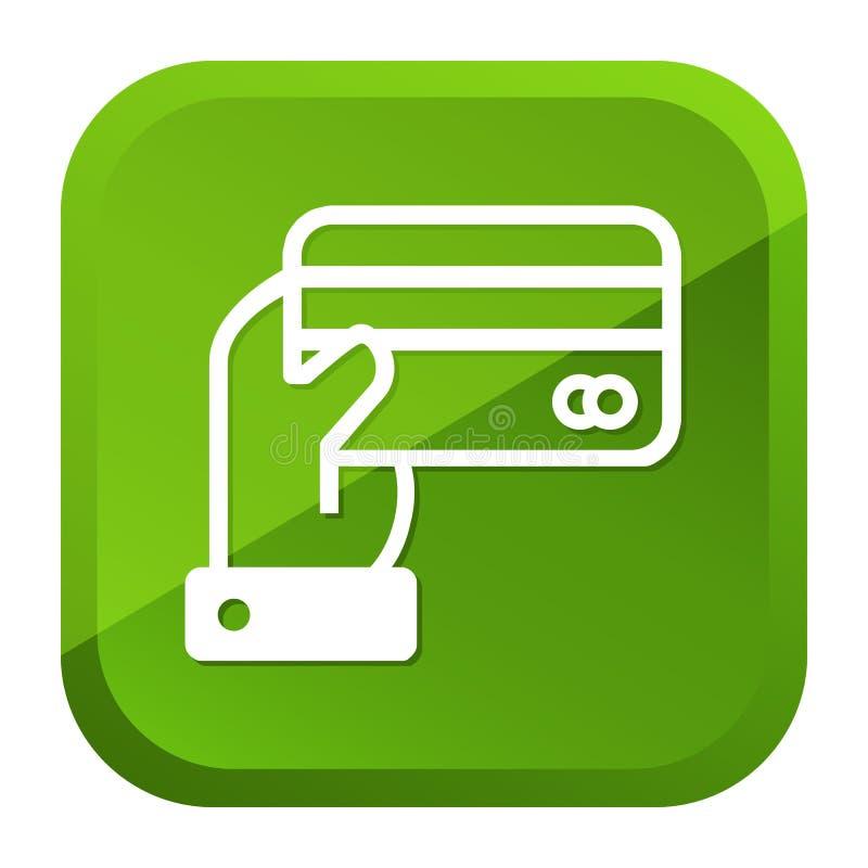 R?ka trzyma kredytowej karty ikon? zielony przycisk Eps10 Wektor ilustracja wektor