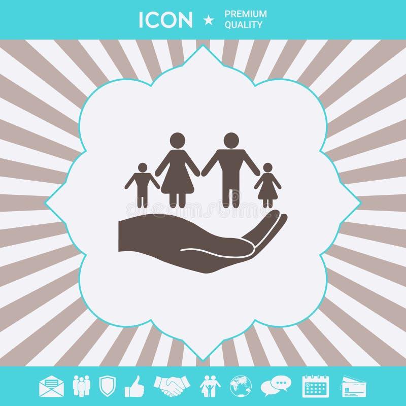 R?ka trzyma symbol rodzina Rodzinna gacenie ikona Graficzni elementy dla tw?j projekta ilustracja wektor