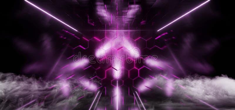 R?ka Violet Club Stage Room Hall f?r lilor f?r Sci Fi sexh?rningsneon den futuristiska showen som den vibrerande virtuell verklig vektor illustrationer