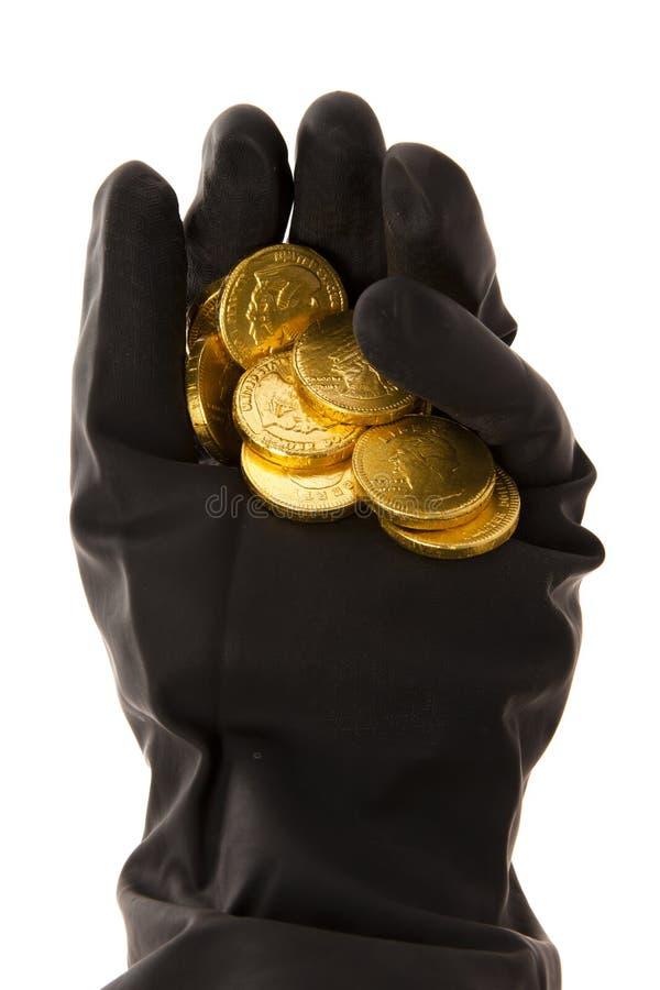 Download Ręka z monetami zdjęcie stock. Obraz złożonej z czerń - 28345464