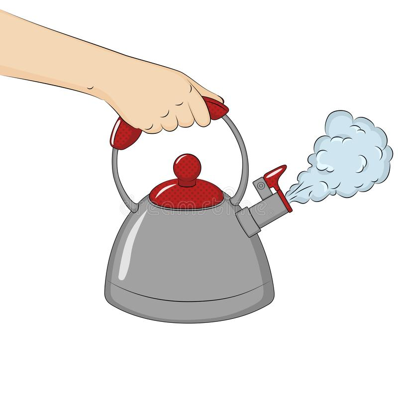 R?ki mienia gotowany czajnik pojedynczy bia?e t?o raster ilustracji