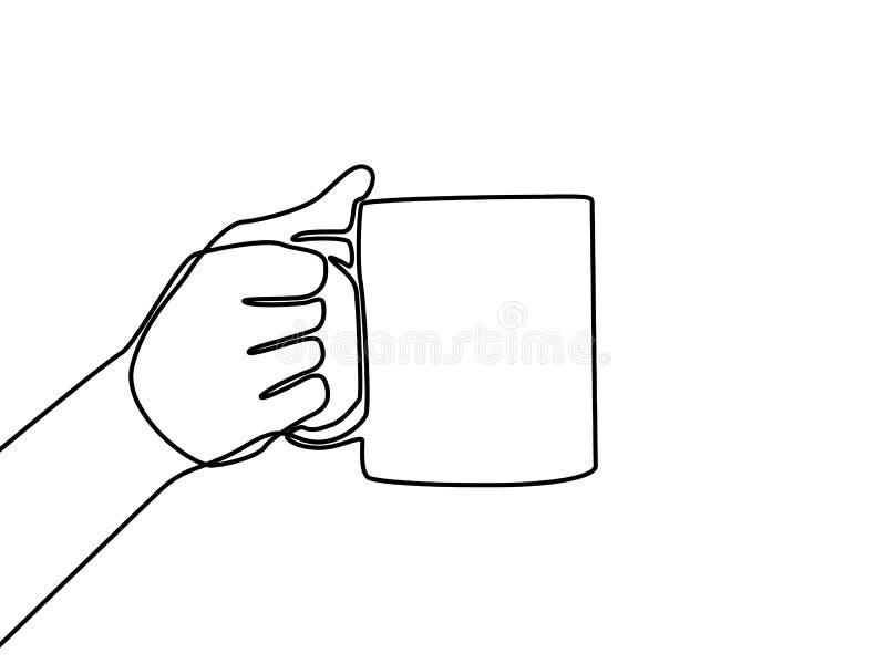 R?ki mienia kubek z herbat? lub kaw? Ci?g?y kreskowy rysunek royalty ilustracja