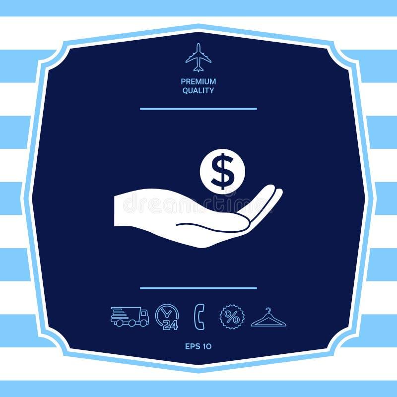 R?ki mienia pieni?dze - dolarowy symbol Graficzni elementy dla tw?j projekta royalty ilustracja