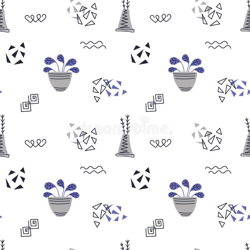 R?ki rysowa? dom ro?liny Skandynaw stylowa ilustracja, bezszwowy wz?r dla tkaniny, tapety lub opakunku papieru, royalty ilustracja