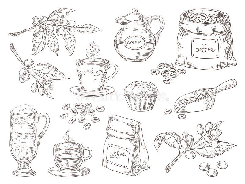 R?ki Rysowa? Kawowe fasole Rocznika nakreślenie kawowa gałąź piec liść torba i fasole Wektor odosobniona retro grafika royalty ilustracja