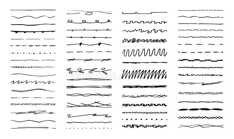 R?ki rysowa? linie Atrament pióro rysująca linia, podkreślający muśnięcie i ołówków uderzenia Ramowa dividers linia, poślubia orn ilustracja wektor