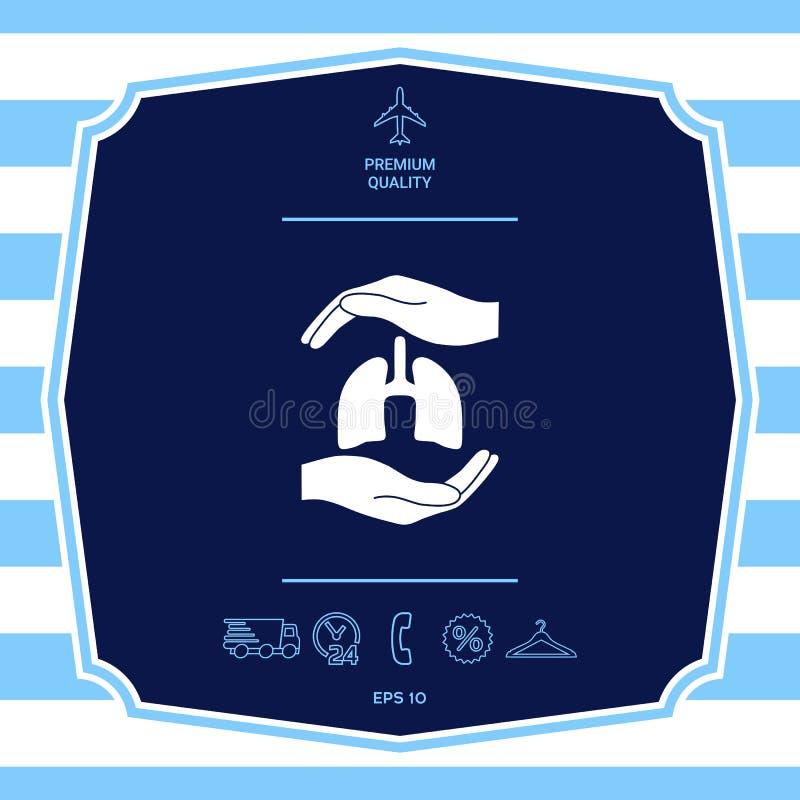 R?ki trzyma p?uca - ochrona symbol Graficzni elementy dla tw?j projekta ilustracja wektor
