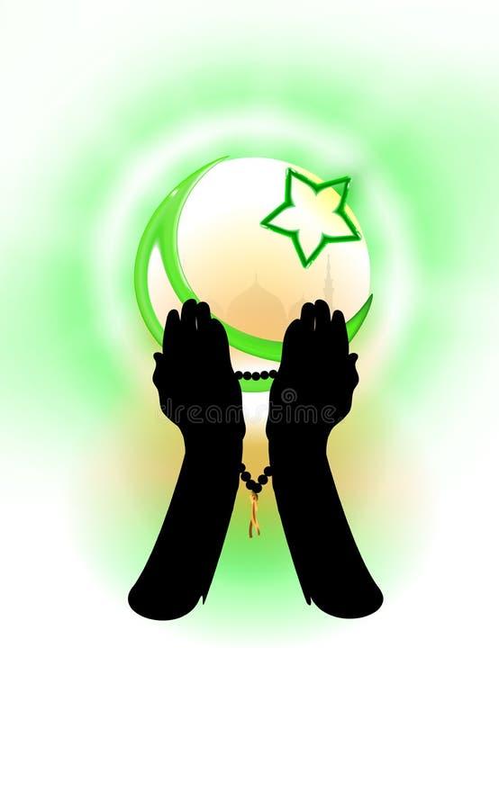 R?ki wiary poj?cie muzu?manin kt?ry ono modli si?, Islamska religii p??ksi??yc i gwiazda, zieleni brzmienia ilustracyjni Projekt  ilustracja wektor