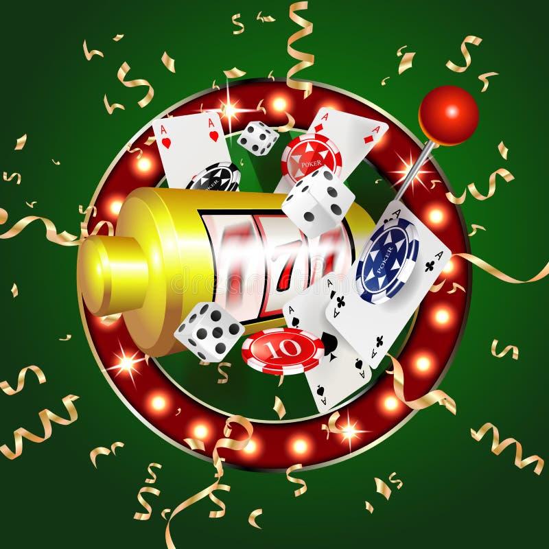 R?kning f?r kasino 3d, enarmade banditer och roulett med kort, platsbakgrundskonst royaltyfri illustrationer
