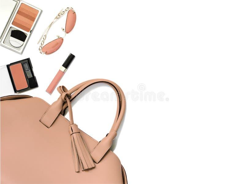 r La borsa e gli accessori della donna fotografie stock libere da diritti