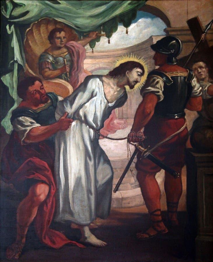 1r Las estaciones de la cruz, Jesús se condenan a la muerte foto de archivo libre de regalías