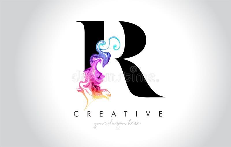 R Leter creativo vibrante Logo Design con la tinta colorida Flo del humo libre illustration